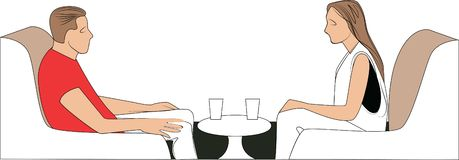 Man and woman sitting at the table, negotiations, business lunch, meeting, date, couple in a café a talk Stock Illustration