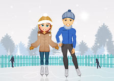 Man and woman skating on ice Stock Photos