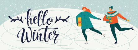 A man and a woman are skating together. Hello winter. stock illustration