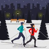 Man and woman skiers in motion in a snowy city park among the fir trees. Vector illustration in flat style. vector illustration