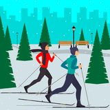 Man and woman skiers in motion in a snowy city park among the fir trees. Vector illustration in flat style. Man and woman skiers in motion in a snowy city park Royalty Free Stock Image
