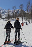 First steps on skis. Royalty Free Stock Photography