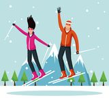 Man and woman with skis. Extreme sport vector illustration graphic design Royalty Free Stock Photography