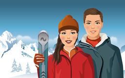 Man and woman with skis in the mountains - vector Stock Photo