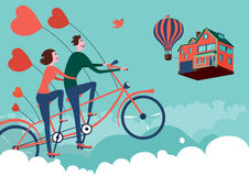 Man and woman on sky bike tour. Fantasy illustration stock illustration