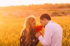 Man and woman embracing in poppy field on the dusk. Man and women embracing in poppy field on the dusk, countryside Malta royalty free stock photo
