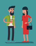 Man and woman smiling. Bearded guy with coffee and lady in red dress Royalty Free Stock Image