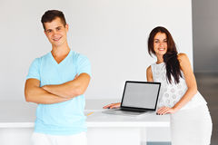 Man and woman smiling at the camera. Concept of start up and beg Royalty Free Stock Image