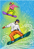 Man and woman snowboarding in mountains. Vector illustration in pop art retro style. vector illustration