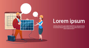 Man And Woman Solar Energy Panel Renewable Station Presentation Royalty Free Stock Photo