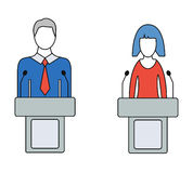 Man and Woman Speaker, Orator, Colorful Vector Icons. Man and woman speaker, orator, colorful icons. Isolated on white background. Thin line vector illustratoin Stock Images