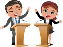 Man and Woman Speakers Royalty Free Stock Image
