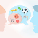 Man and woman speech bubbles. Abstract vector background Royalty Free Stock Photography