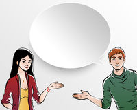 Man and woman with speech bubbles Royalty Free Stock Photo