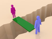 Man and woman split on sides, bridge through separation crack. Concept 3D illustration Stock Images