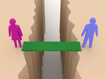 Man and woman split on sides, bridge through separation crack. Concept 3D illustration Royalty Free Stock Photography