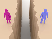Man and woman split on sides, separation crack. Concept 3D illustration Royalty Free Stock Images