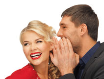 Man and woman spreading gossip Royalty Free Stock Image