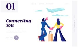 Man and Woman Stand in Airport Terminal Waiting Flight Watching Flying Airplane through Window. Summer Time Vacation. Honeymoon Website Landing Page, Web Page royalty free illustration