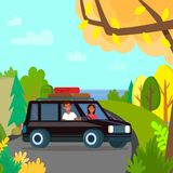 Man and Woman Stand by Black Car on Top Mountain vector illustration