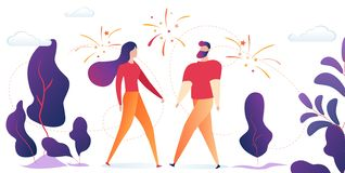 Man and Woman Stand Outdoors with Fireworks in Sky royalty free illustration