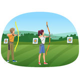 Man and woman standing with bows and aiming to the target vector illustration. Royalty Free Stock Photography