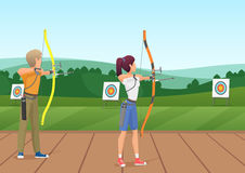 Man and woman standing with bows and aiming to the target vector illustration. Man and woman standing with bows and aiming to the target vector illustration Stock Photo