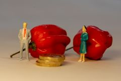 Man and woman standing in front of the red hot Habanero pepper and arguing about planning of family budget. Family conflict. Concept stock images