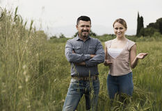 Man and woman standing in green wheat field Royalty Free Stock Images