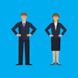 Man and woman are standing holding arms akimbo Stock Image
