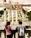 Man and Woman Standing Near Baluster White Looking the City Buildings Stock Image