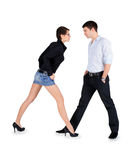 Man and woman standing over white Royalty Free Stock Image