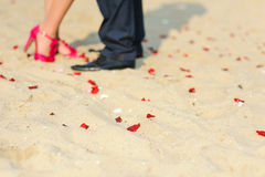 Man and woman standing on the sand Royalty Free Stock Photography