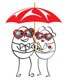 Cartoon man and woman standing with umbrella. On sunny day royalty free illustration