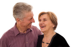 Man and woman staring. At each other and laugh Stock Images