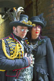 Man and woman in Steam-punk costume. Stock Images