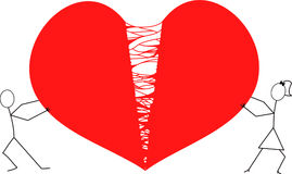 Man and woman stick figures tearing heart apart / red broken hart. Relationship breaking apart or divorce concept Royalty Free Stock Images
