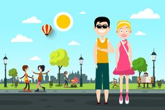 Man and Woman on Street with People in City Park. On Background royalty free illustration