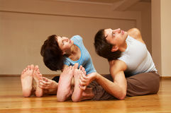 Man and woman stretching Stock Photos