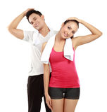 Man and woman stretching Royalty Free Stock Photo