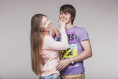 Man and woman in the Studio stock photography