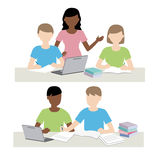 Man and woman study together. Illustration Royalty Free Illustration