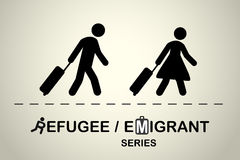 Man and woman with suitcases going on a trip. Emigrant / refugee series. Stock Photo