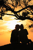 Man and woman in sunset Stock Image