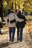 Man and woman supporting each other. Autumn meeting of middle age couple Royalty Free Stock Image