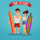 Man and Woman with Surf. Time to Surf. Travel Banner Royalty Free Stock Images