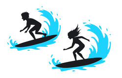 Man and woman surfing silhouette Stock Photography