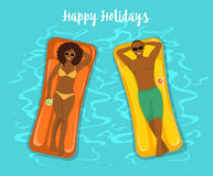 Man and Woman swimming on inflatable floats in the pool. stock illustration