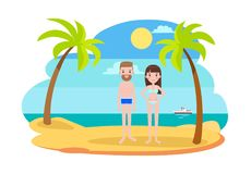 Man and Woman in Swimsuits on the Beach with Palms Stock Image