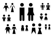 The man and woman symbol. The some simple black symbols of man and woman Royalty Free Stock Photography